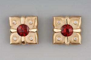 period style stud button bezel set diamonds checker board tops