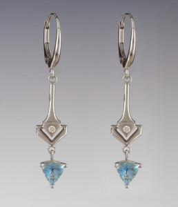 14kt white gold dangles Euro style hinged earrings